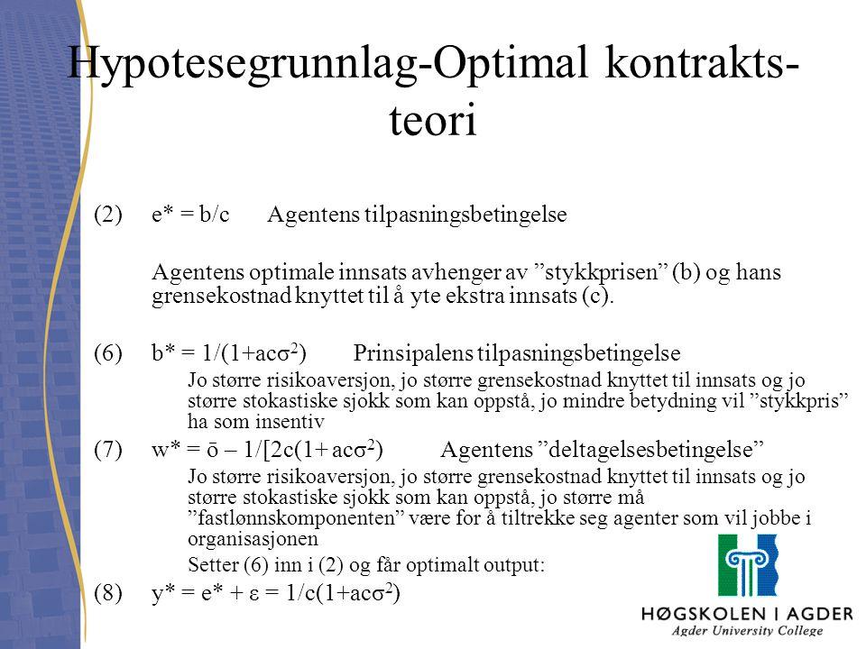 """Hypotesegrunnlag-Optimal kontrakts- teori (2)e* = b/c Agentens tilpasningsbetingelse Agentens optimale innsats avhenger av """"stykkprisen"""" (b) og hans g"""