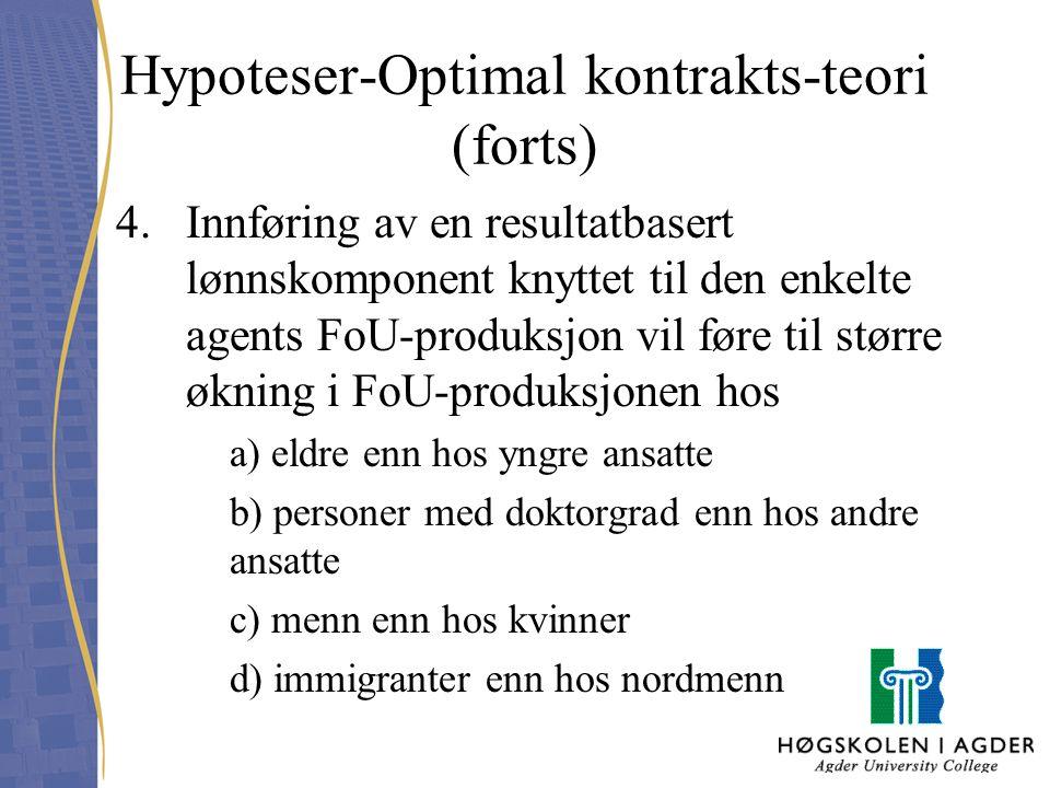 Hypoteser-Optimal kontrakts-teori (forts) 4.Innføring av en resultatbasert lønnskomponent knyttet til den enkelte agents FoU-produksjon vil føre til s