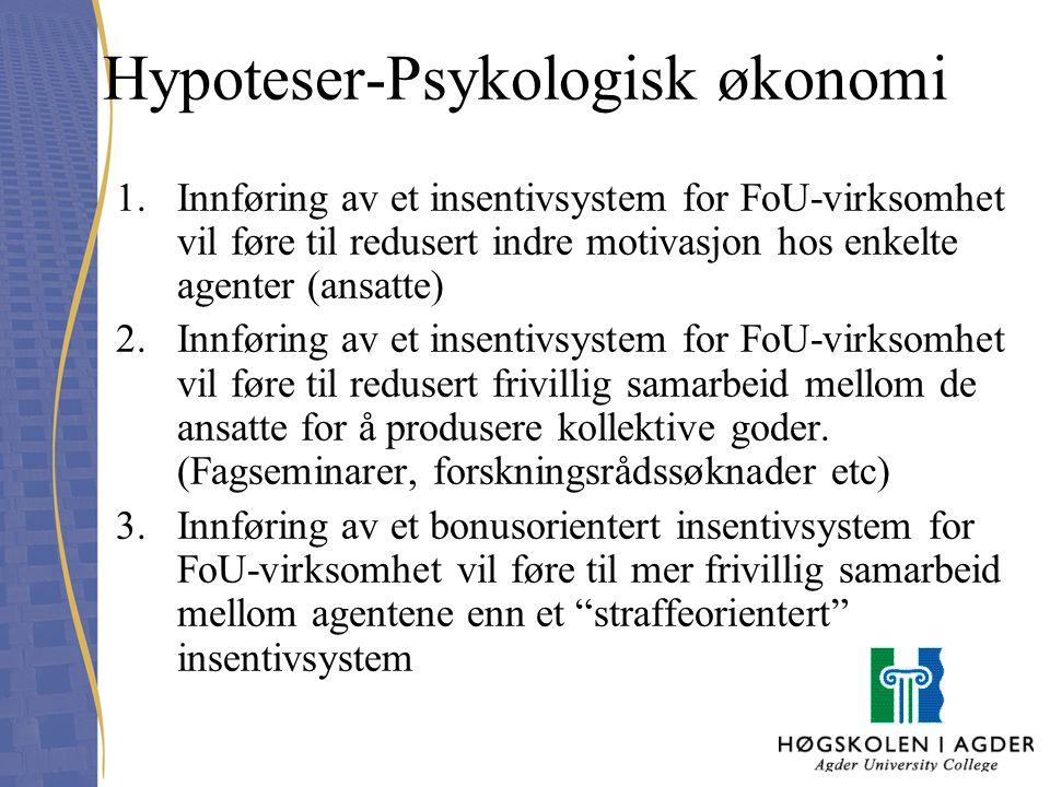 Hypoteser-Psykologisk økonomi 1.Innføring av et insentivsystem for FoU-virksomhet vil føre til redusert indre motivasjon hos enkelte agenter (ansatte)