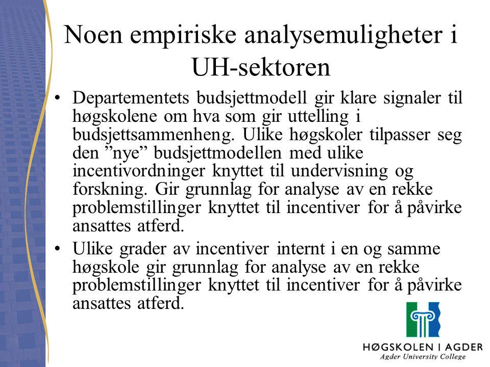 Noen empiriske analysemuligheter i UH-sektoren Departementets budsjettmodell gir klare signaler til høgskolene om hva som gir uttelling i budsjettsamm