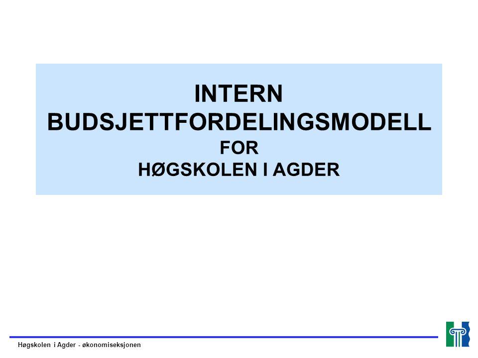 Høgskolen i Agder - økonomiseksjonen INTERN BUDSJETTFORDELINGSMODELL FOR HØGSKOLEN I AGDER