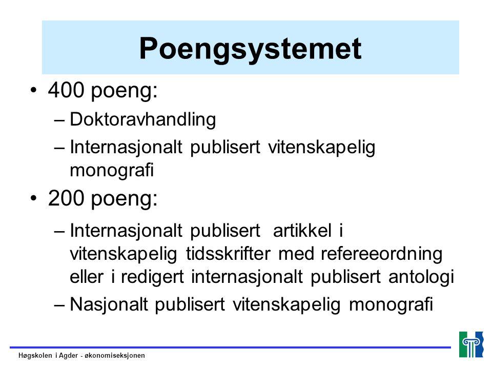 Poengsystemet 400 poeng: –Doktoravhandling –Internasjonalt publisert vitenskapelig monografi 200 poeng: –Internasjonalt publisert artikkel i vitenskap