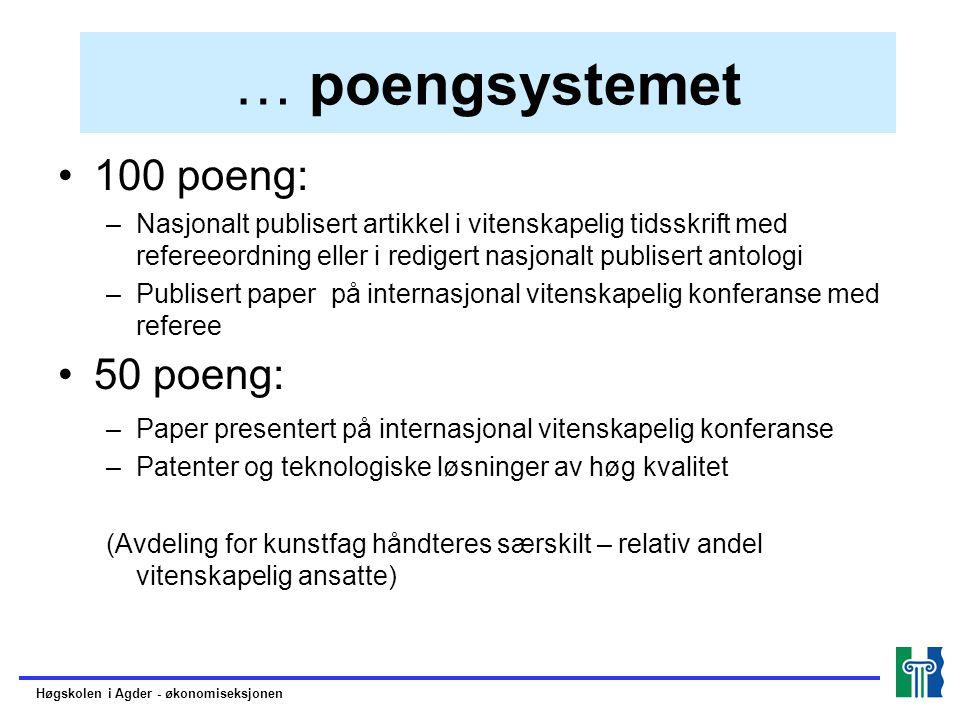 … poengsystemet 100 poeng: –Nasjonalt publisert artikkel i vitenskapelig tidsskrift med refereeordning eller i redigert nasjonalt publisert antologi –