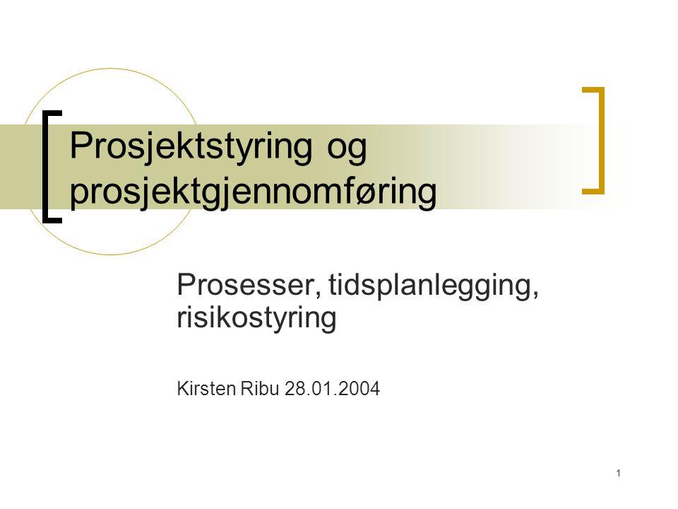 1 Prosjektstyring og prosjektgjennomføring Prosesser, tidsplanlegging, risikostyring Kirsten Ribu 28.01.2004