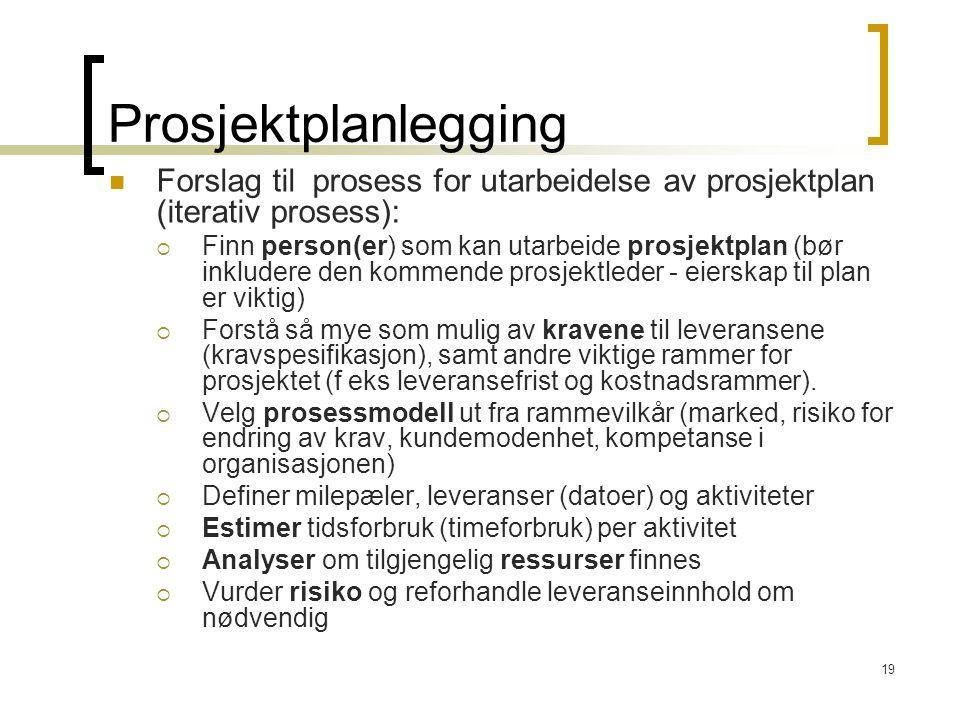 19 Prosjektplanlegging Forslag til prosess for utarbeidelse av prosjektplan (iterativ prosess):  Finn person(er) som kan utarbeide prosjektplan (bør
