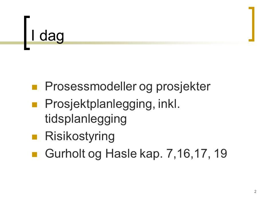 2 I dag Prosessmodeller og prosjekter Prosjektplanlegging, inkl. tidsplanlegging Risikostyring Gurholt og Hasle kap. 7,16,17, 19