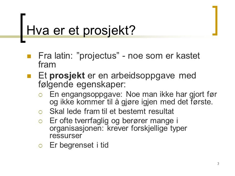 """3 Hva er et prosjekt? Fra latin: """"projectus"""" - noe som er kastet fram Et prosjekt er en arbeidsoppgave med følgende egenskaper:  En engangsoppgave: N"""