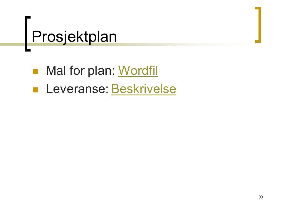33 Prosjektplan Mal for plan: WordfilWordfil Leveranse: BeskrivelseBeskrivelse
