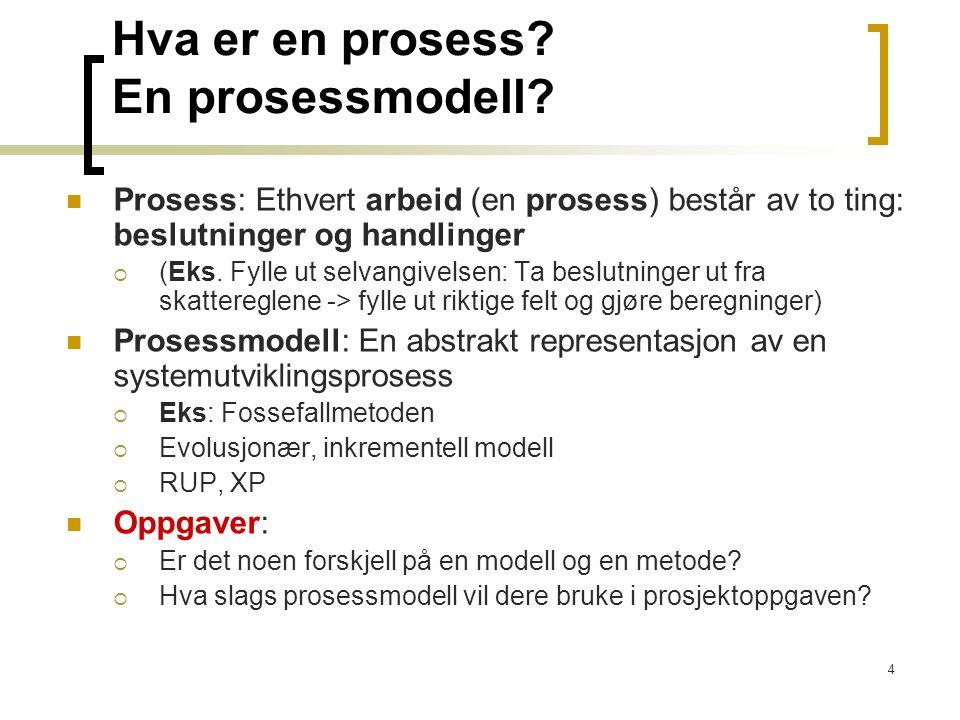 4 Hva er en prosess? En prosessmodell? Prosess: Ethvert arbeid (en prosess) består av to ting: beslutninger og handlinger  (Eks. Fylle ut selvangivel