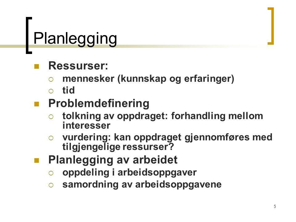 5 Planlegging Ressurser:  mennesker (kunnskap og erfaringer)  tid Problemdefinering  tolkning av oppdraget: forhandling mellom interesser  vurderi
