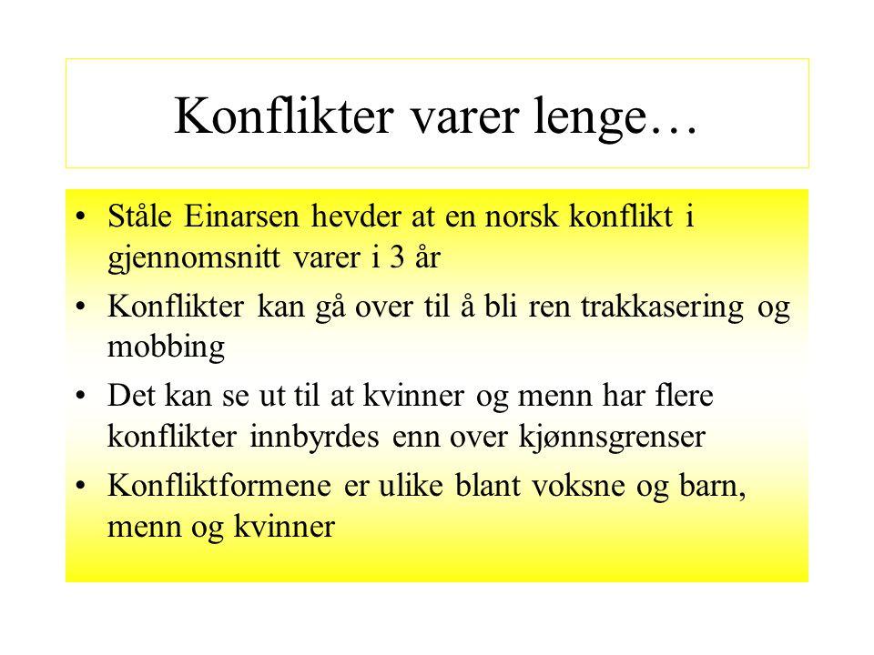 Konflikter varer lenge… Ståle Einarsen hevder at en norsk konflikt i gjennomsnitt varer i 3 år Konflikter kan gå over til å bli ren trakkasering og mo