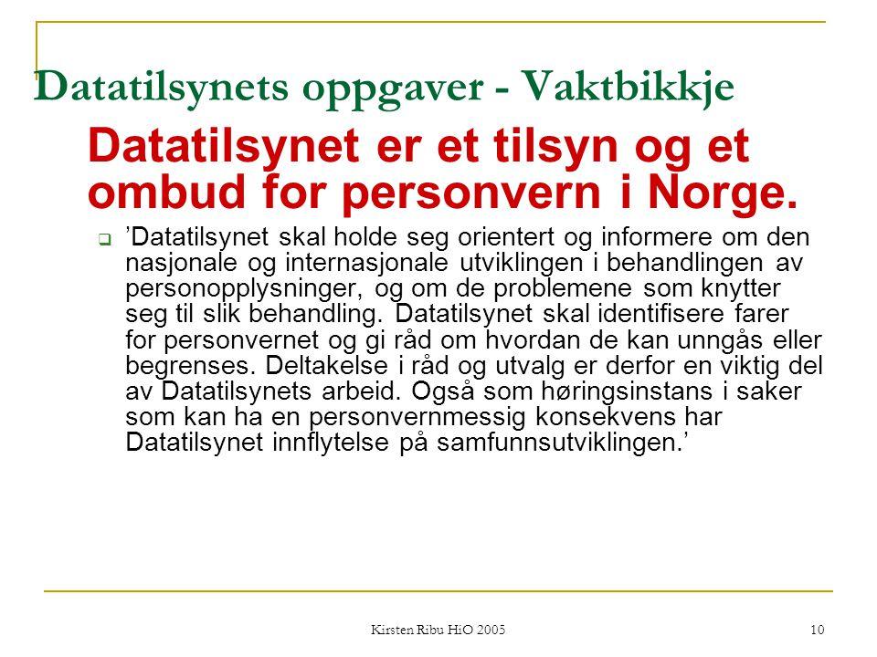 Kirsten Ribu HiO 2005 10 Datatilsynets oppgaver - Vaktbikkje Datatilsynet er et tilsyn og et ombud for personvern i Norge.  'Datatilsynet skal holde