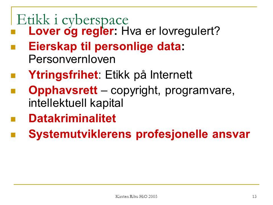 Kirsten Ribu HiO 2005 13 Etikk i cyberspace Lover og regler: Hva er lovregulert? Eierskap til personlige data: Personvernloven Ytringsfrihet: Etikk på