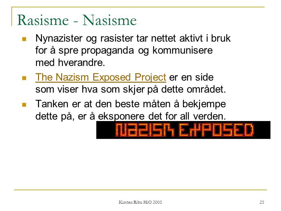 Kirsten Ribu HiO 2005 25 Rasisme - Nasisme Nynazister og rasister tar nettet aktivt i bruk for å spre propaganda og kommunisere med hverandre. The Naz