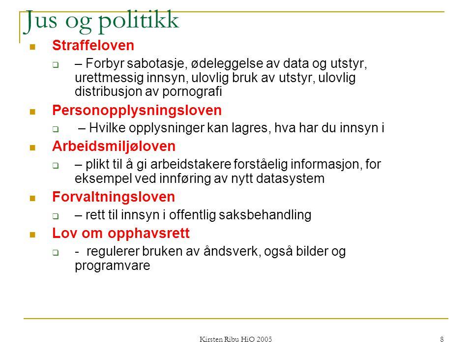 Kirsten Ribu HiO 2005 8 Jus og politikk Straffeloven  – Forbyr sabotasje, ødeleggelse av data og utstyr, urettmessig innsyn, ulovlig bruk av utstyr,