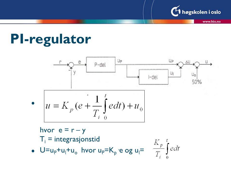 PID-regulator l hvor e = r – y T i = integrasjonstid, Td = derivasjonstiden l U=u P +u I +u D +u o l hvor u P =K p ·e, u I = og u D =
