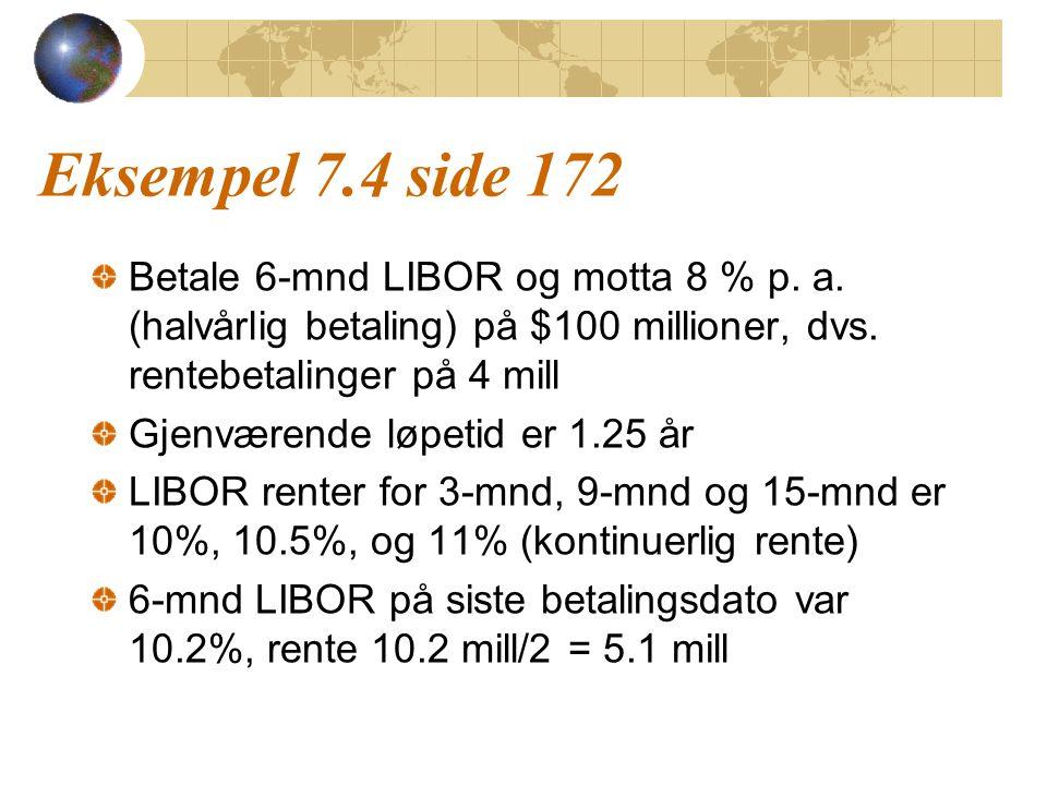Eksempel 7.4 side 172 Betale 6-mnd LIBOR og motta 8 % p. a. (halvårlig betaling) på $100 millioner, dvs. rentebetalinger på 4 mill Gjenværende løpetid