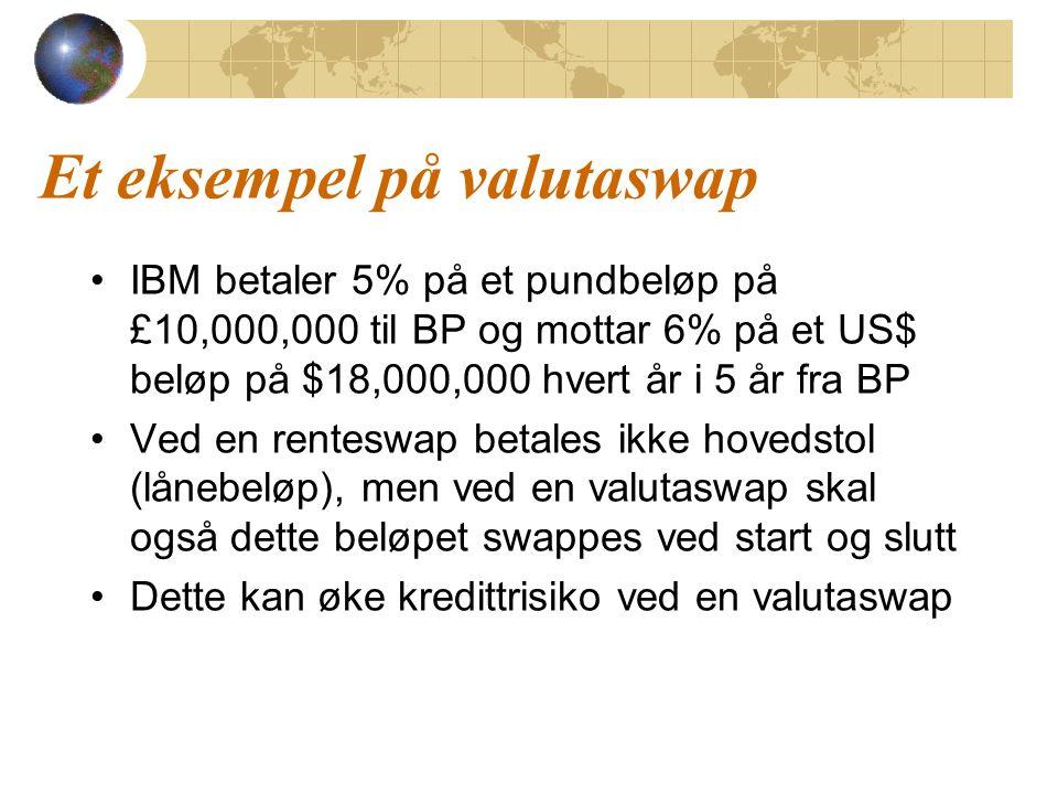 Et eksempel på valutaswap IBM betaler 5% på et pundbeløp på £10,000,000 til BP og mottar 6% på et US$ beløp på $18,000,000 hvert år i 5 år fra BP Ved