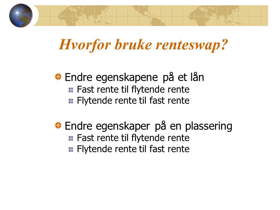 Hvorfor bruke renteswap? Endre egenskapene på et lån Fast rente til flytende rente Flytende rente til fast rente Endre egenskaper på en plassering Fas