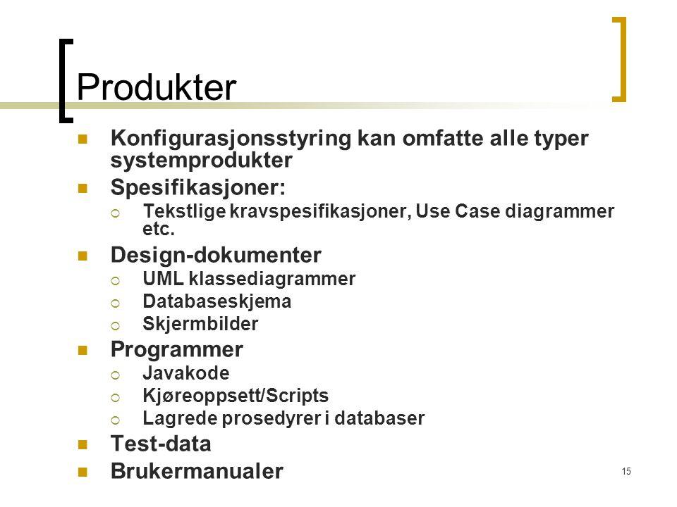 15 Produkter Konfigurasjonsstyring kan omfatte alle typer systemprodukter Spesifikasjoner:  Tekstlige kravspesifikasjoner, Use Case diagrammer etc. D