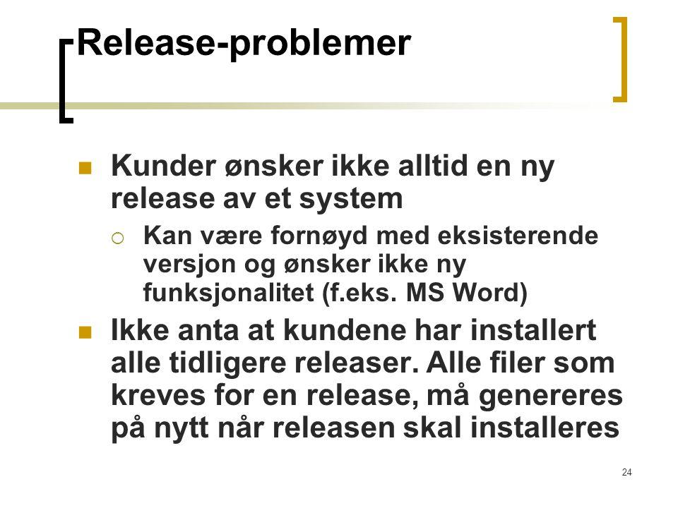 24 Release-problemer Kunder ønsker ikke alltid en ny release av et system  Kan være fornøyd med eksisterende versjon og ønsker ikke ny funksjonalitet