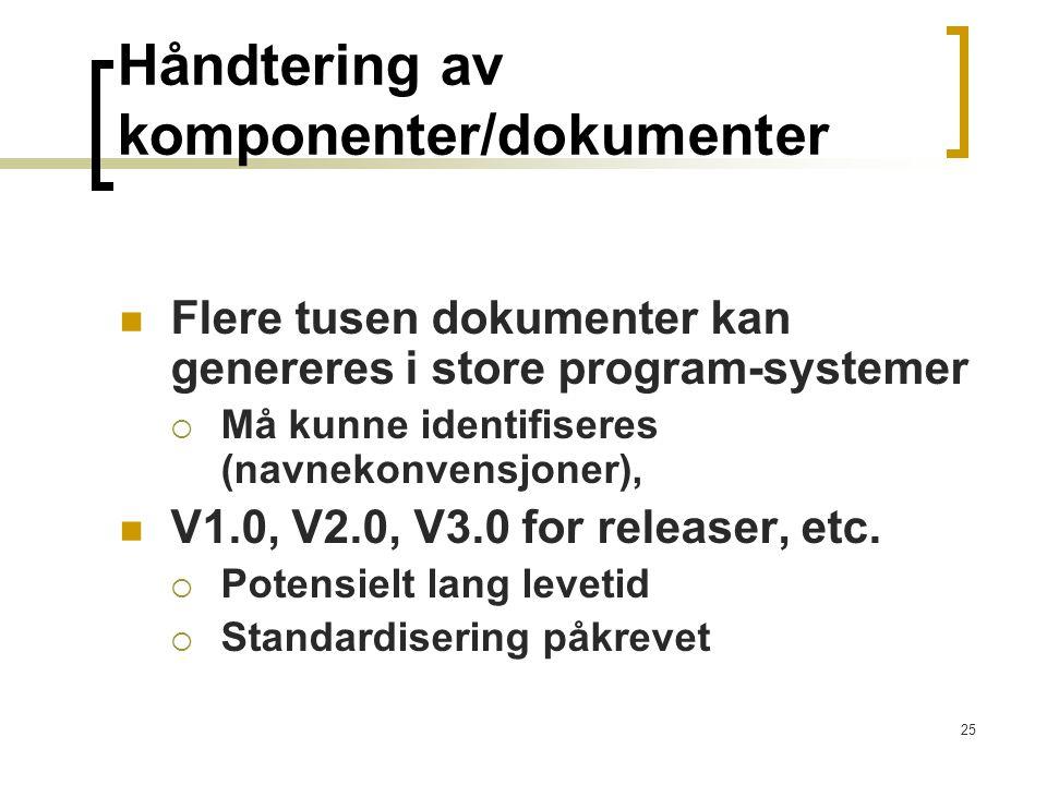 25 Håndtering av komponenter/dokumenter Flere tusen dokumenter kan genereres i store program-systemer  Må kunne identifiseres (navnekonvensjoner), V1