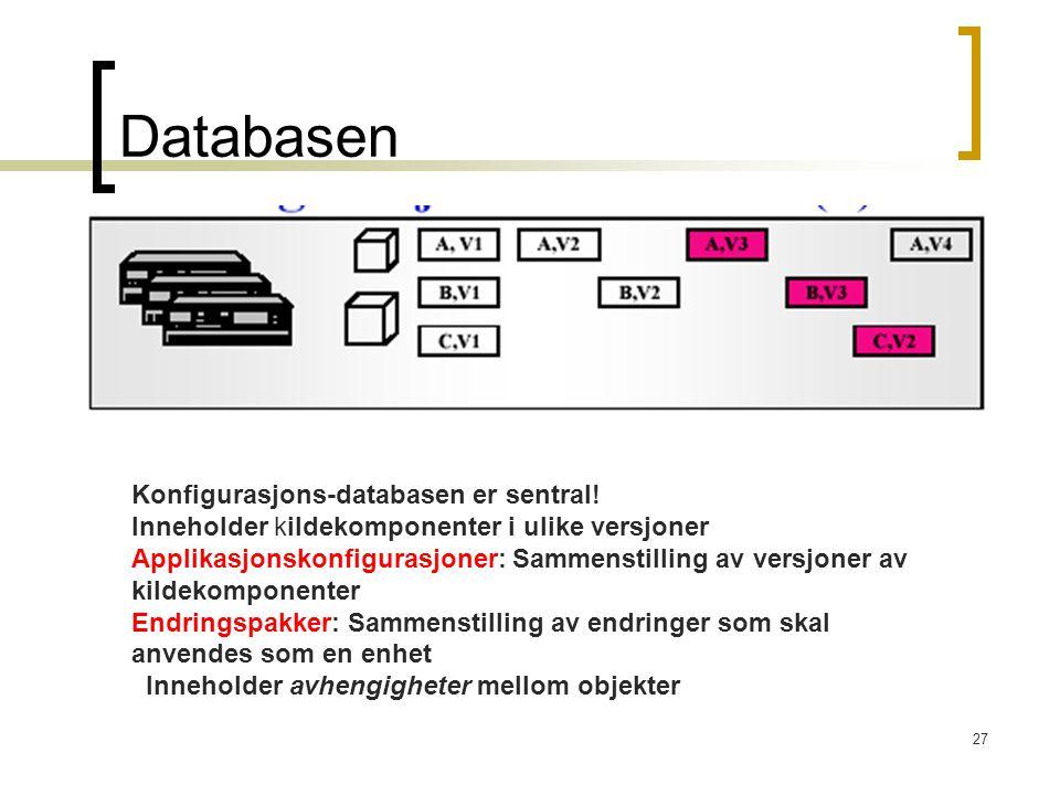27 Databasen Konfigurasjons-databasen er sentral! Inneholder kildekomponenter i ulike versjoner Applikasjonskonfigurasjoner: Sammenstilling av versjon
