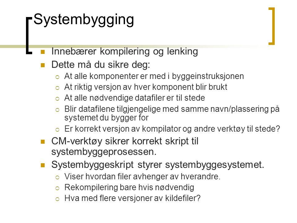 Systembygging Innebærer kompilering og lenking Dette må du sikre deg:  At alle komponenter er med i byggeinstruksjonen  At riktig versjon av hver ko