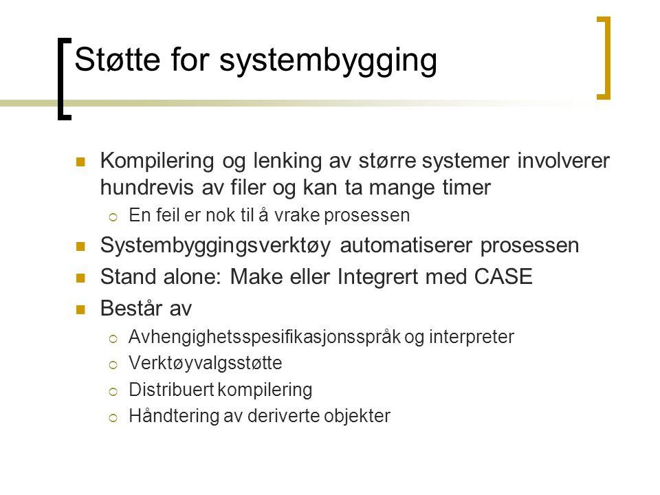 Støtte for systembygging Kompilering og lenking av større systemer involverer hundrevis av filer og kan ta mange timer  En feil er nok til å vrake pr
