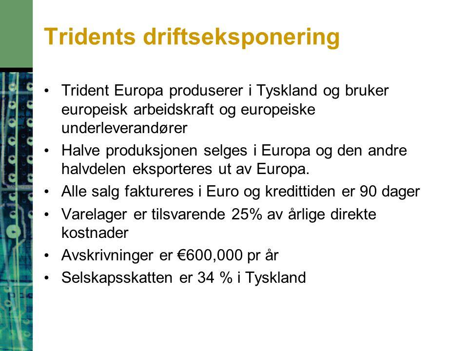 Trident Europa produserer i Tyskland og bruker europeisk arbeidskraft og europeiske underleverandører Halve produksjonen selges i Europa og den andre halvdelen eksporteres ut av Europa.