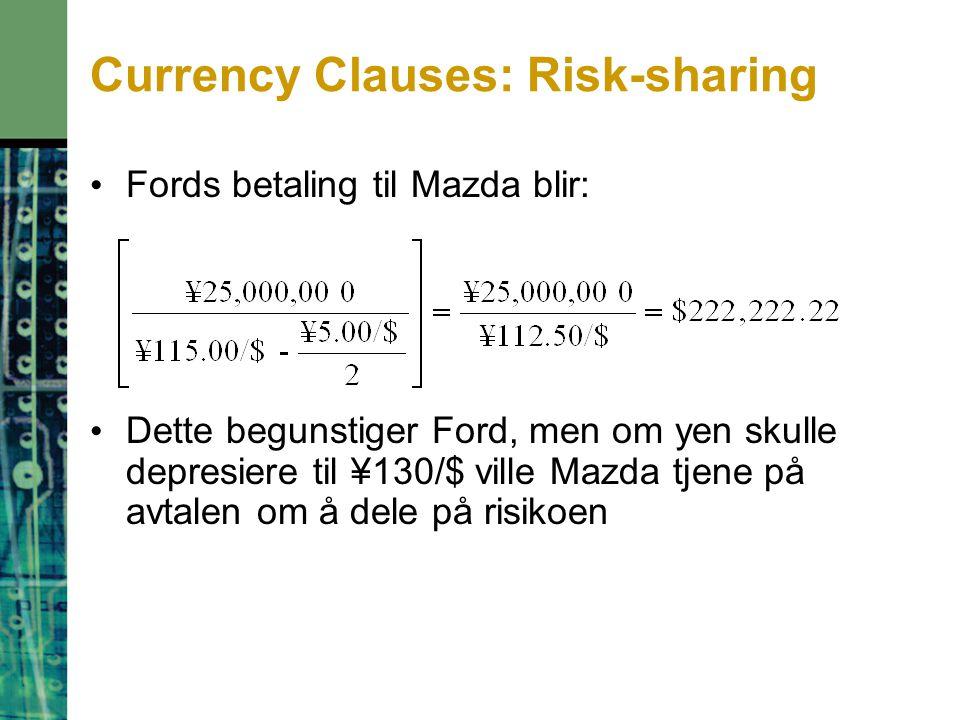 Currency Clauses: Risk-sharing Fords betaling til Mazda blir: Dette begunstiger Ford, men om yen skulle depresiere til ¥130/$ ville Mazda tjene på avtalen om å dele på risikoen