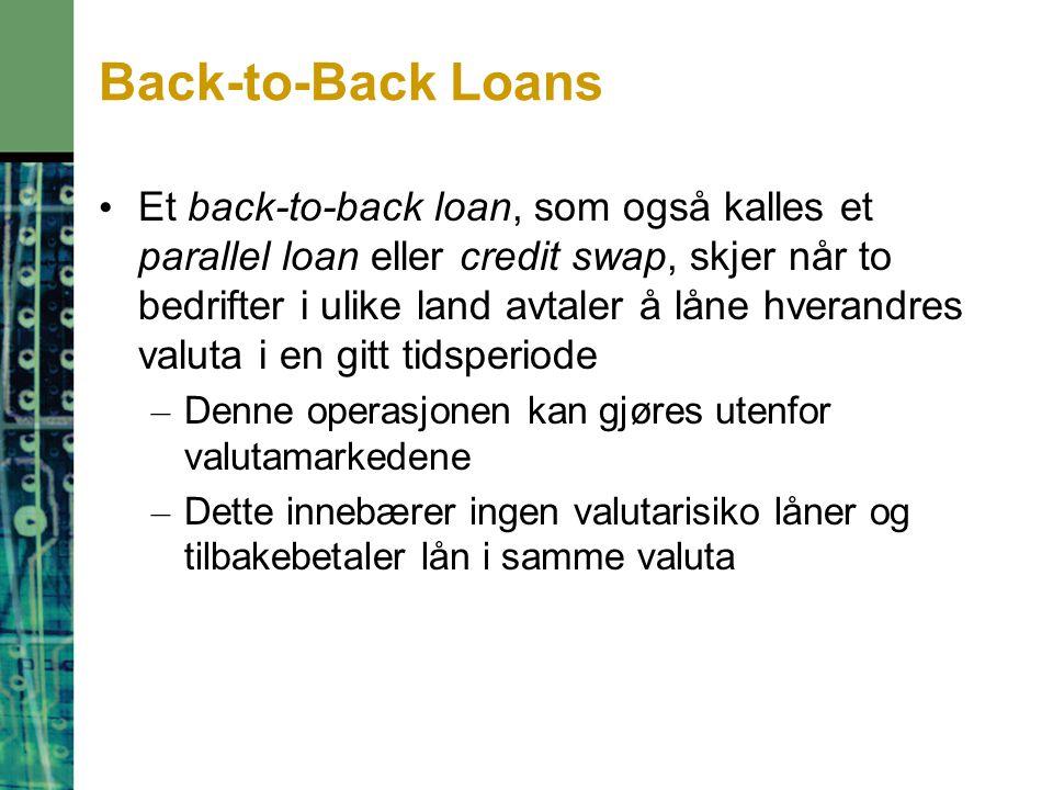 Back-to-Back Loans Et back-to-back loan, som også kalles et parallel loan eller credit swap, skjer når to bedrifter i ulike land avtaler å låne hverandres valuta i en gitt tidsperiode – Denne operasjonen kan gjøres utenfor valutamarkedene – Dette innebærer ingen valutarisiko låner og tilbakebetaler lån i samme valuta