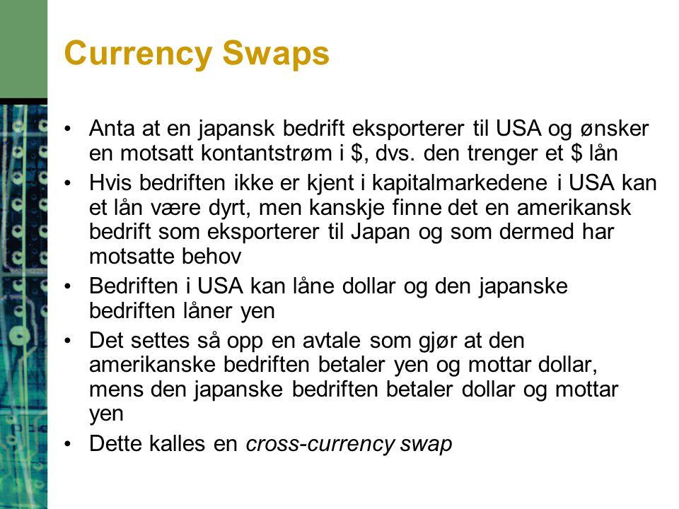 Currency Swaps Anta at en japansk bedrift eksporterer til USA og ønsker en motsatt kontantstrøm i $, dvs.
