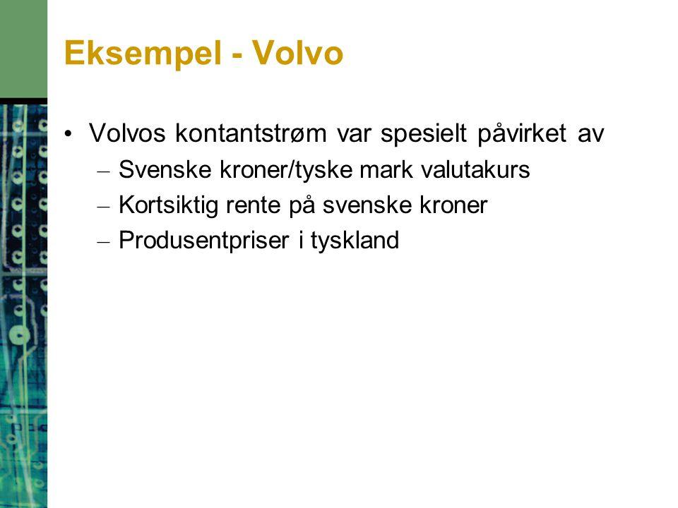 Eksempel - Volvo Volvos kontantstrøm var spesielt påvirket av – Svenske kroner/tyske mark valutakurs – Kortsiktig rente på svenske kroner – Produsentpriser i tyskland