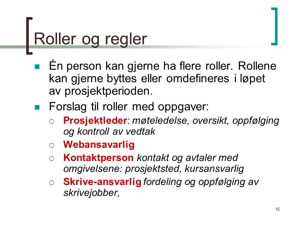 16 Roller og regler Én person kan gjerne ha flere roller.