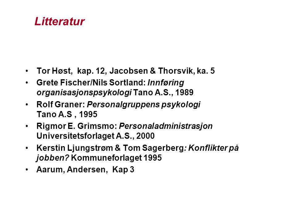 Litteratur Tor Høst, kap. 12, Jacobsen & Thorsvik, ka. 5 Grete Fischer/Nils Sortland: Innføring organisasjonspsykologi Tano A.S., 1989 Rolf Graner: Pe