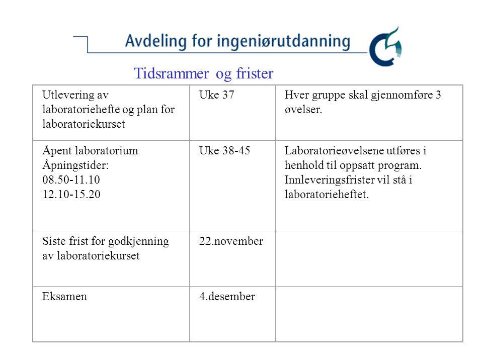 Tidsrammer og frister Utlevering av laboratoriehefte og plan for laboratoriekurset Uke 37Hver gruppe skal gjennomføre 3 øvelser. Åpent laboratorium Åp