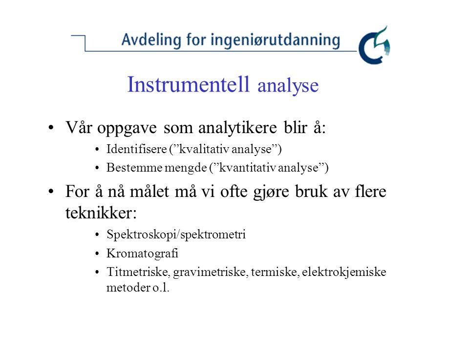 Instrumentell analyse Vår oppgave som analytikere blir å: Identifisere ( kvalitativ analyse ) Bestemme mengde ( kvantitativ analyse ) For å nå målet må vi ofte gjøre bruk av flere teknikker: Spektroskopi/spektrometri Kromatografi Titmetriske, gravimetriske, termiske, elektrokjemiske metoder o.l.