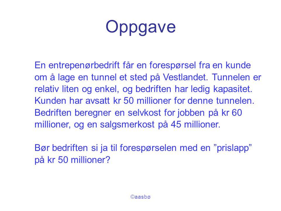 ©aasbø Oppgave En entrepenørbedrift får en forespørsel fra en kunde om å lage en tunnel et sted på Vestlandet. Tunnelen er relativ liten og enkel, og