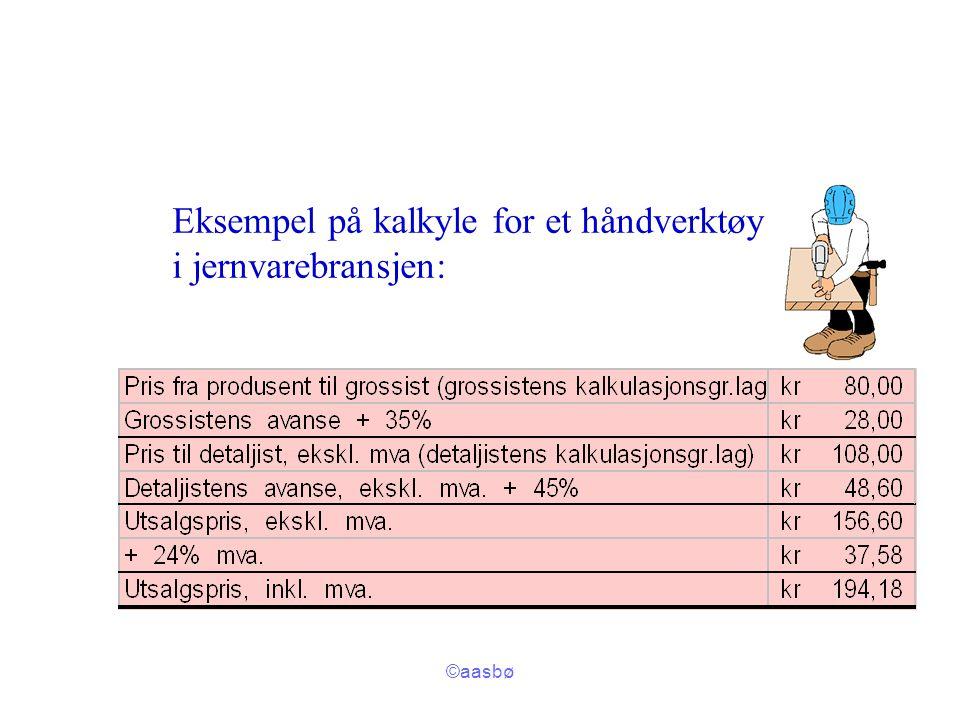 ©aasbø Eksempel på kalkyle for et håndverktøy i jernvarebransjen: