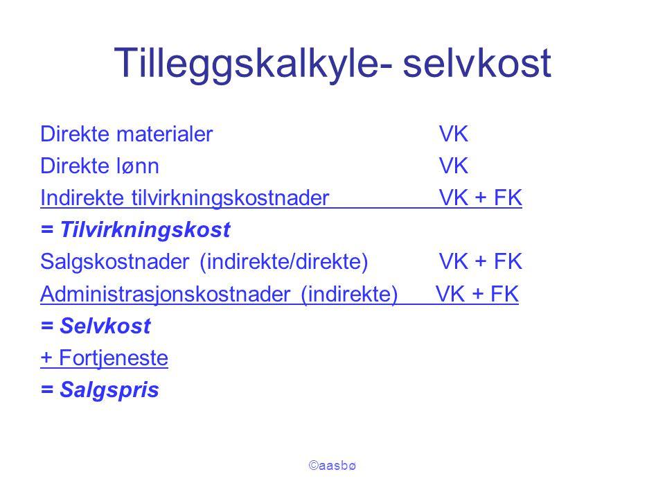 ©aasbø Tilleggskalkyle- selvkost Direkte materialerVK Direkte lønnVK Indirekte tilvirkningskostnader VK + FK = Tilvirkningskost Salgskostnader (indire
