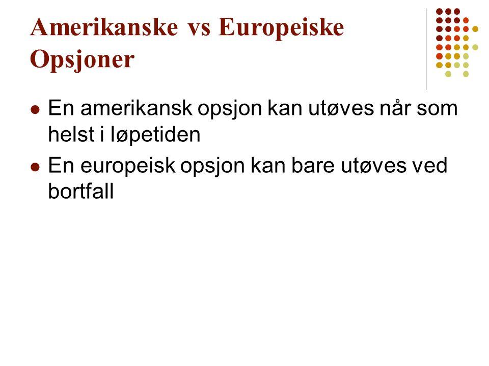 Amerikanske vs Europeiske Opsjoner En amerikansk opsjon kan utøves når som helst i løpetiden En europeisk opsjon kan bare utøves ved bortfall
