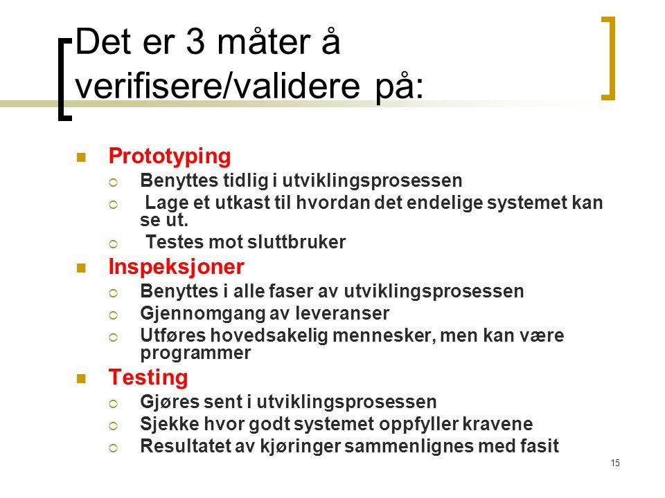 15 Det er 3 måter å verifisere/validere på: Prototyping  Benyttes tidlig i utviklingsprosessen  Lage et utkast til hvordan det endelige systemet kan