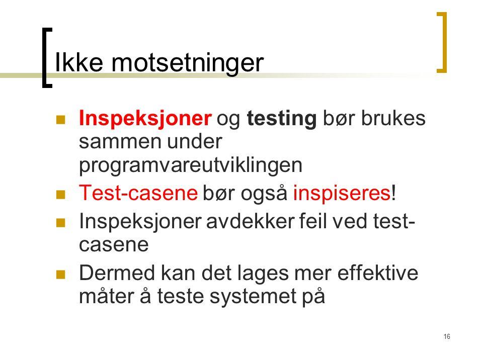 16 Ikke motsetninger Inspeksjoner og testing bør brukes sammen under programvareutviklingen Test-casene bør også inspiseres! Inspeksjoner avdekker fei