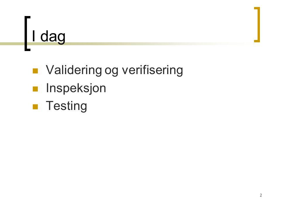 43 Testplan – skal inn i prosjektet V&V-plan (kvalitetssikringsplan) er en del av prosjektplanen  Fokus på feilavdekking/-retting ved kjøring av programmer Testplanen bør inneholde beskrivelse av  enhetstest (UT)  integrasjonstest (IT)  systemtest (ST)  akspetansetest (AT)  Tidsplan (hvilke tester når)  Ressursbruk (mennesker/systemer/maskiner/data)  Testleveranser (testscript, testrapporter, dokumentasjon, etc.)  Risikofaktorer