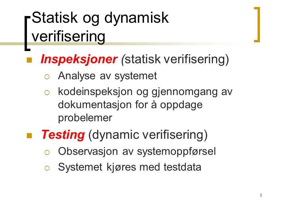 5 Inspeksjoner (statisk verifisering)  Analyse av systemet  kodeinspeksjon og gjennomgang av dokumentasjon for å oppdage probelemer Testing (dynamic