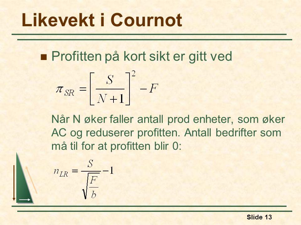 Slide 13 Likevekt i Cournot Profitten på kort sikt er gitt ved Når N øker faller antall prod enheter, som øker AC og reduserer profitten.