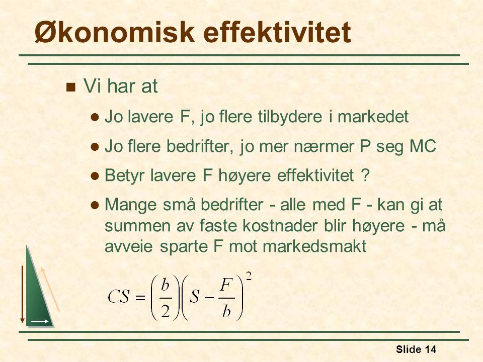 Slide 14 Økonomisk effektivitet Vi har at Jo lavere F, jo flere tilbydere i markedet Jo flere bedrifter, jo mer nærmer P seg MC Betyr lavere F høyere effektivitet .