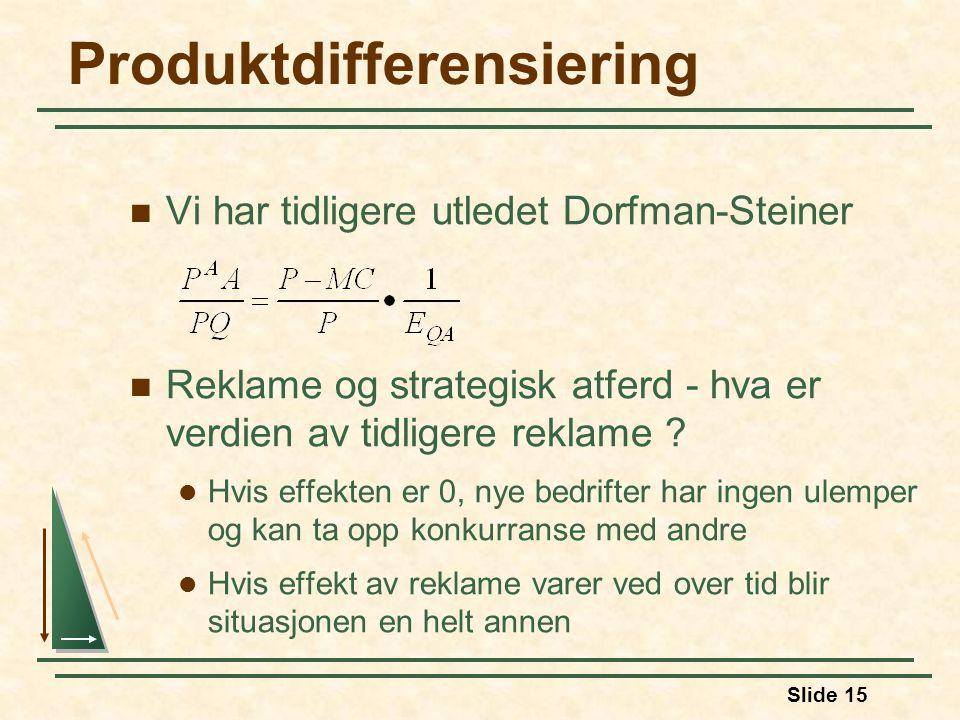 Slide 15 Produktdifferensiering Vi har tidligere utledet Dorfman-Steiner Reklame og strategisk atferd - hva er verdien av tidligere reklame .