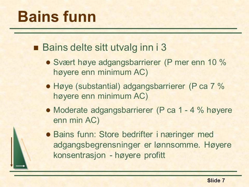 Slide 7 Bains funn Bains delte sitt utvalg inn i 3 Svært høye adgangsbarrierer (P mer enn 10 % høyere enn minimum AC) Høye (substantial) adgangsbarrierer (P ca 7 % høyere enn minimum AC) Moderate adgangsbarrierer (P ca 1 - 4 % høyere enn min AC) Bains funn: Store bedrifter i næringer med adgangsbegrensninger er lønnsomme.